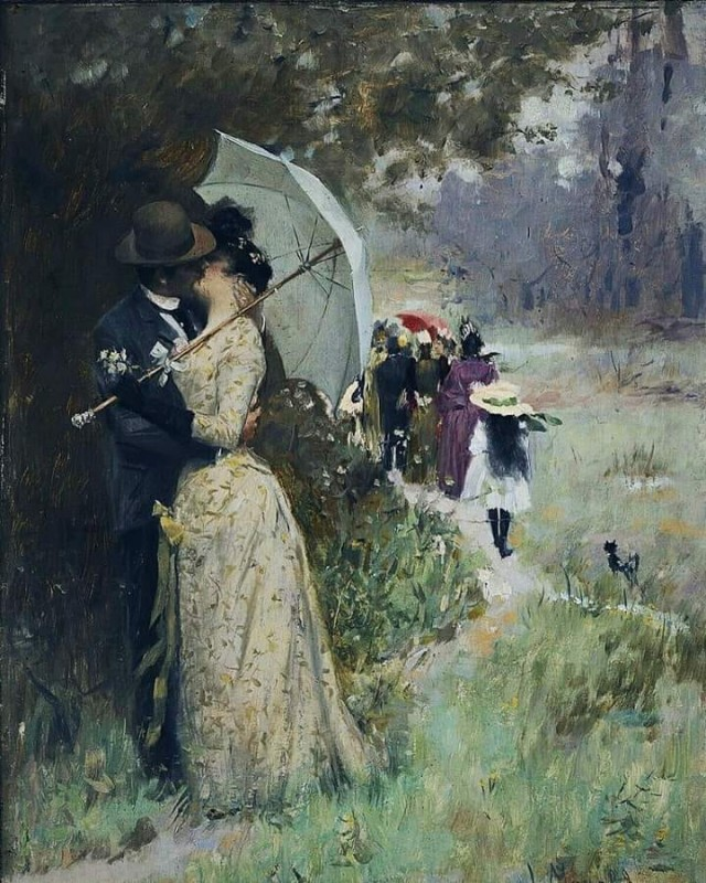A Kiss Under The Parasol By Ludek Marold, Oil Painting