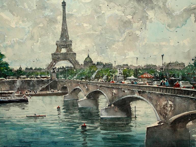 A Sky Over Paris By Maximilian Damico, Watercolor Painting
