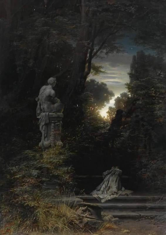 A Women At A Fountain By Ferdinand Knab, Oil Painting