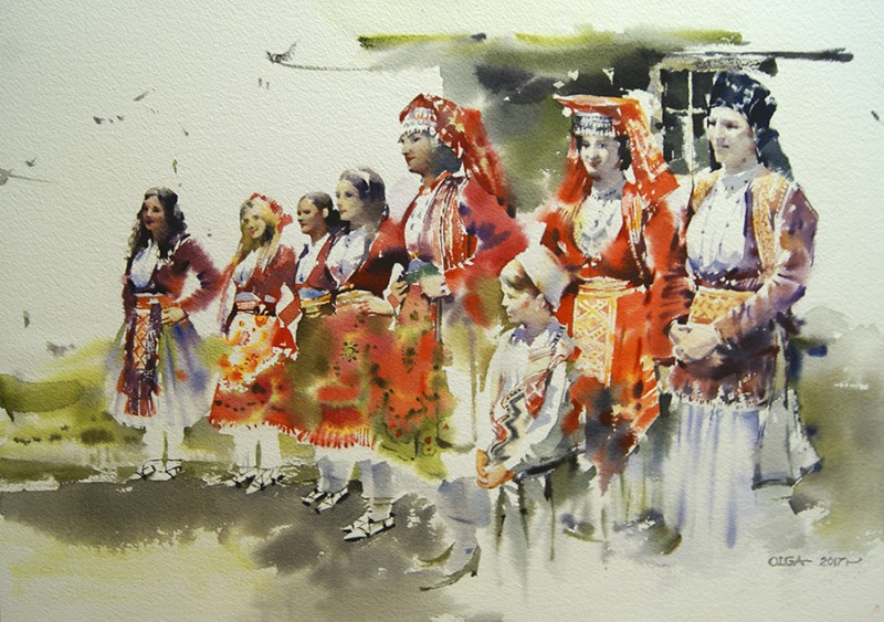 Albanian Girls By Olga Litvinenko, Watercolor Painting