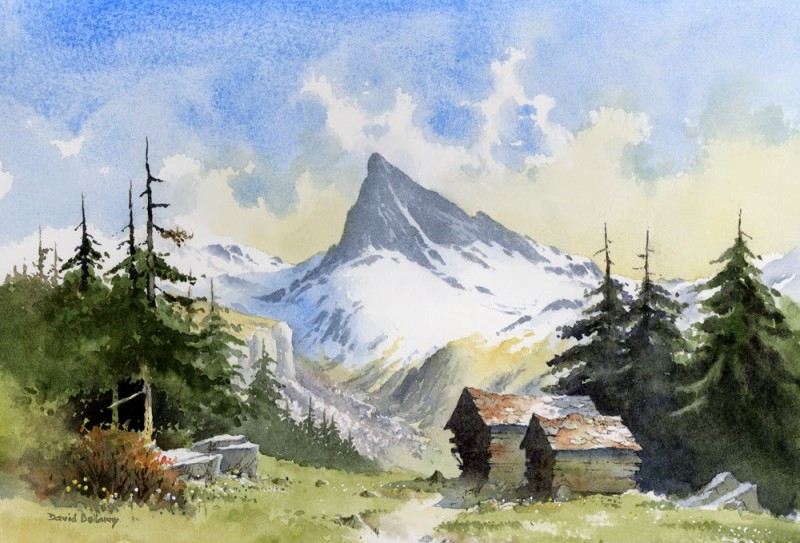 Alpine By David Bellamy, Watercolor Painting