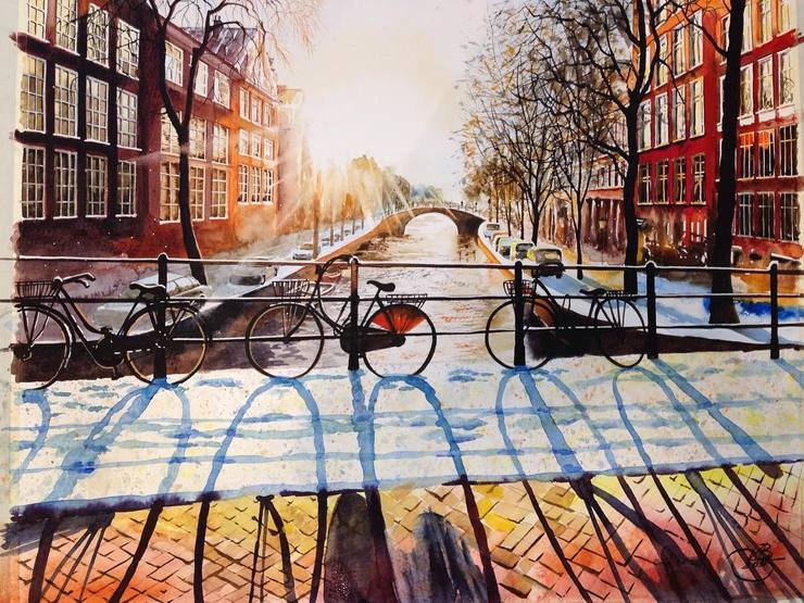 Amsterdam By Igor Dubovoy, Watercolor Painting