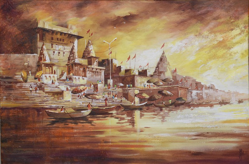 Banaras Ghat Painting by Anurag