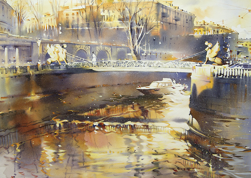 Bankovsky Bridge By Olga Litvinenko, Watercolor Painting