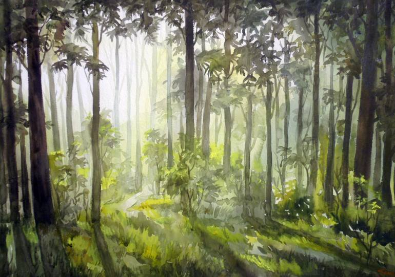 Early Morning Light Inside a Forest by Samiran Sarkar, Watercolor Painting