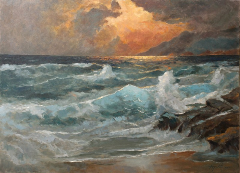 Eventide Sea and Waves By Darko Topalski, Oil Painting