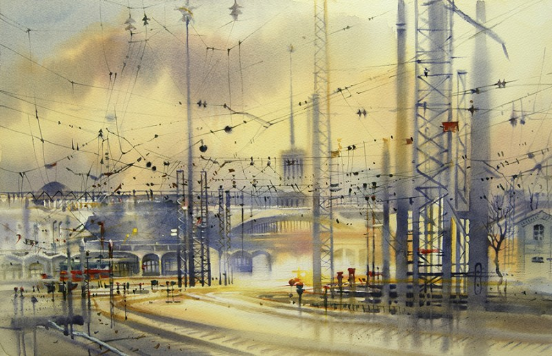 Finland Station By Olga Litvinenko, Watercolor