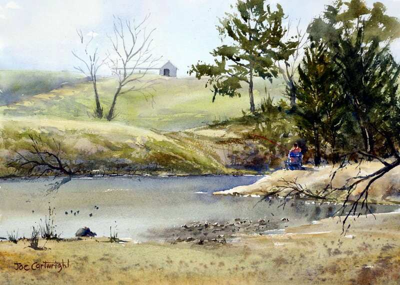 Fishing On The Nepean River by Joe Cartwright, Watercolor Painting