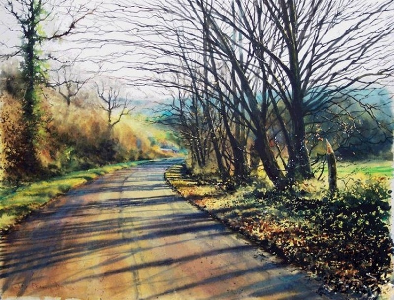 Forest Road By Joe Francis Dowden, Watercolor Painting