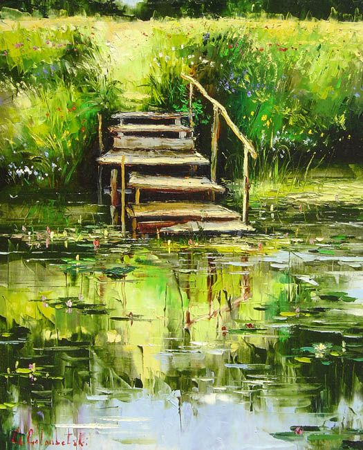 Gone Fishing by Gleb Goloubetski, Oil on Canvas
