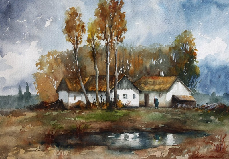 Grandmothers House By Lilla Schuch, Watercolor Paintings