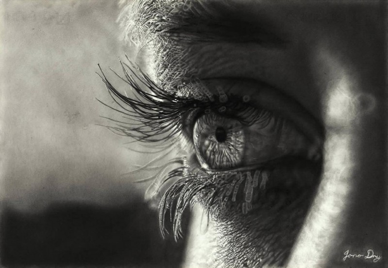Hyper Realistic Eye Drawing By Jono Dry