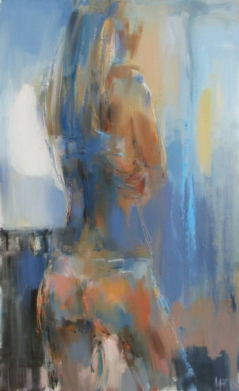 In A Blue Shadow By Nelina Trubach-Moshnikova, Oil Painting