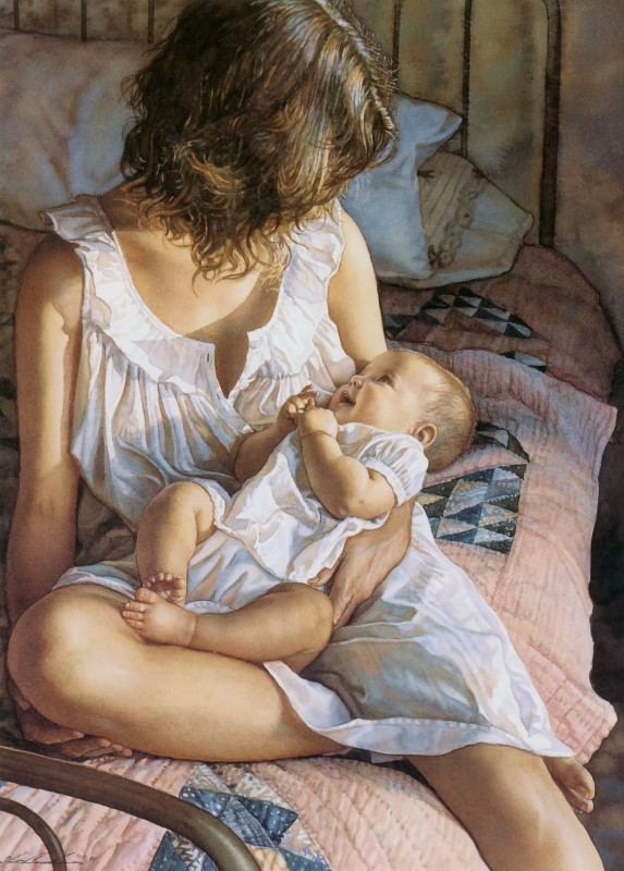 In Mothers Arms By Steve Hanks, Watercolor Paintings