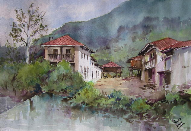 La Riera By Jose Cuervo Vina, Watercolor Painting