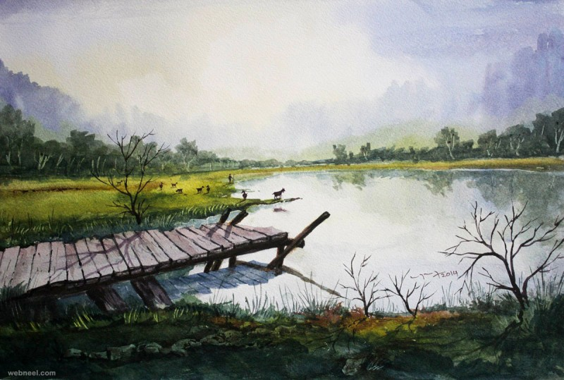 Lakeside By Balakrishnan, Watercolor Painting