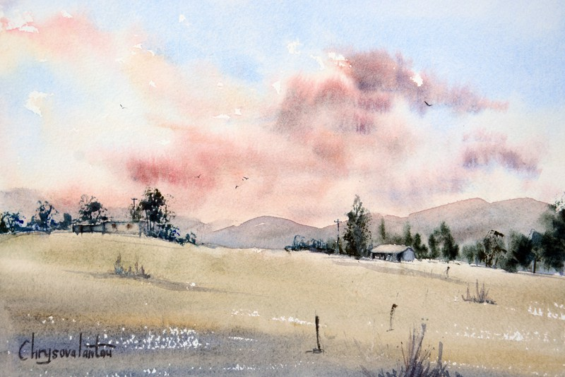 Last Light By Chrysovalantou, Watercolor Painting