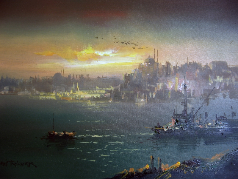 Night in Istanbul by Remzi Taskiran, Oil Painting