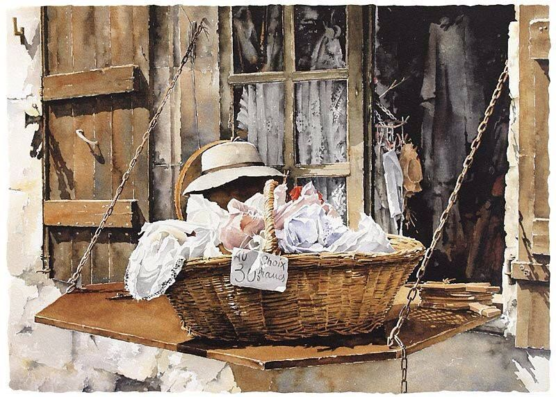 Old Basket By Christian Graniou, Watercolor Painting