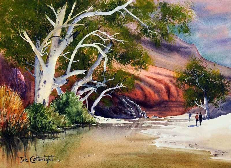 Ormiston Gorge Northern Territory By Joe Cartwright, Watercolor Paintings