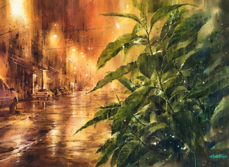 Rainy by Lin Ching-Che, Watercolor Painting