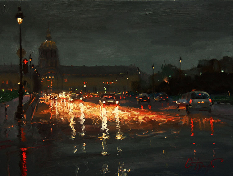 Rainy Night In Paris By Oleg Trofimov Oil Painting