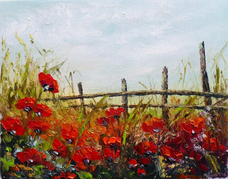 Red Poppy Fields By Zoran Zivotic, Oil Painting