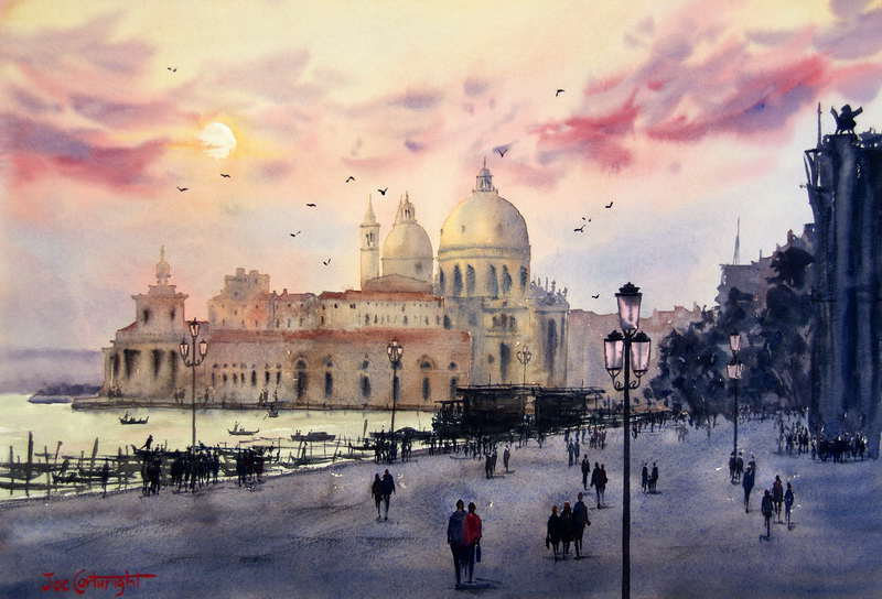 Red Venetian Sunset By Joe Cartwright