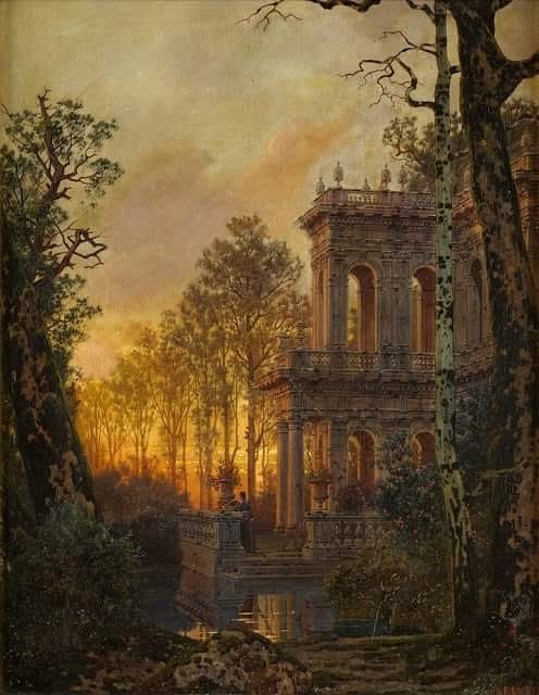 Roman Villa At Sunset By Ferdinand Knab, Oil Painting