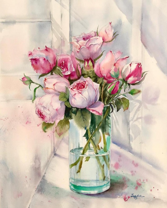 Pink Roses By Jung Sook Hyun, Watercolor