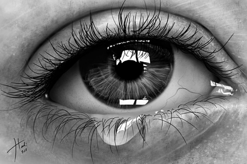 Sad Eye By Hadi, Hyper Realistic Pencil Drawing