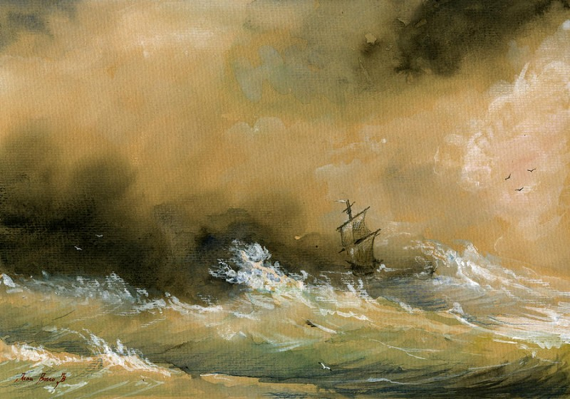 Sail Ship By Juan Bosco, Watercolor