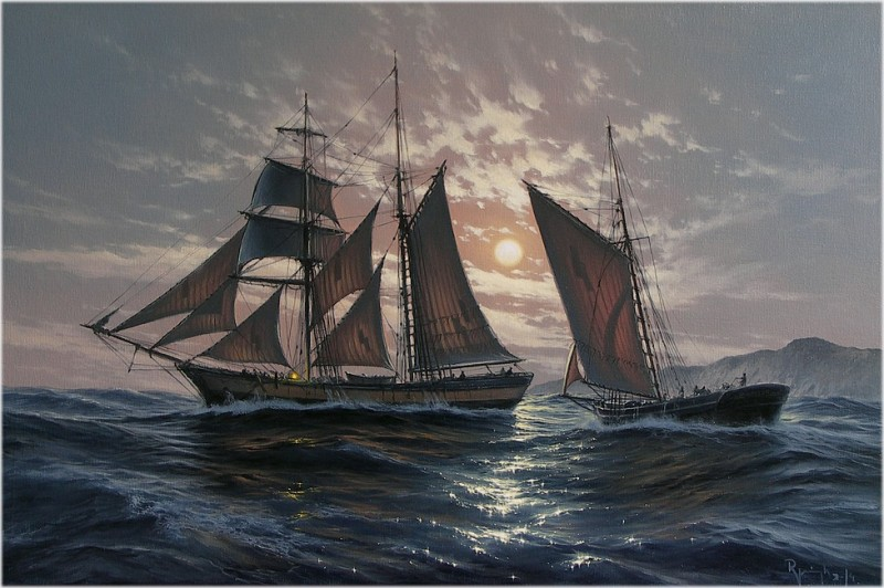 Sailing Ship By Marek Ruzyk, Oil Painting