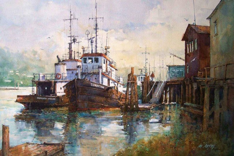 Seaport By Ian Ramsay, Watecolor