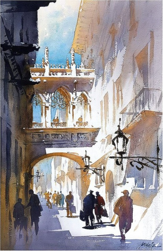 Shadows and Light in Barcelona By Thomas W Schaller, Watercolor Painting