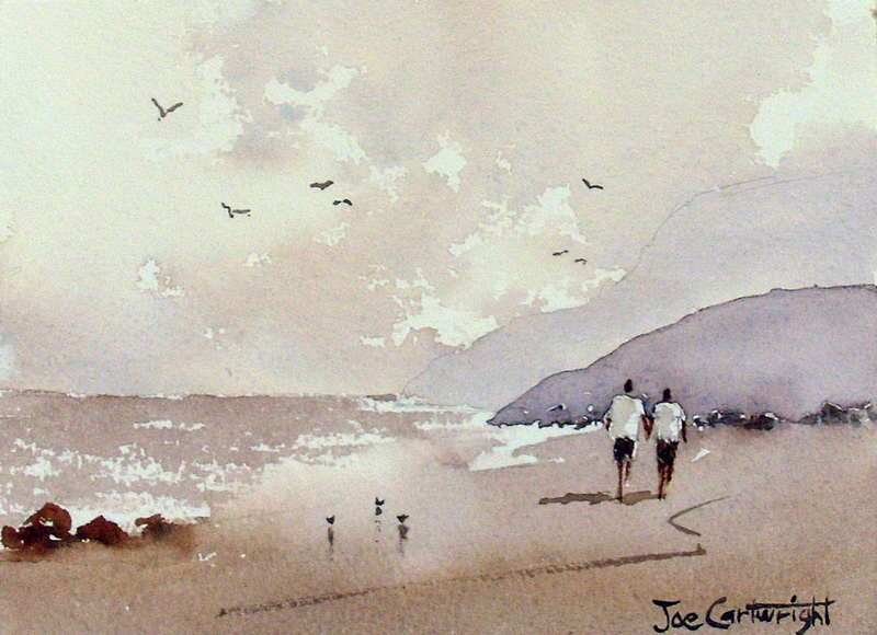 Simple Beach Scene By Joe Cartwright, Watercolor Painting