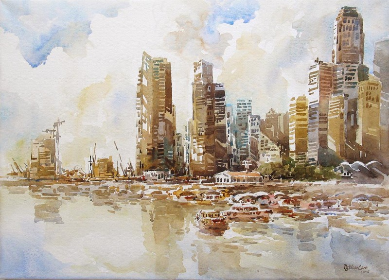 Singapore River Skyline By Ng Woon Lam, Watercolor Paintings