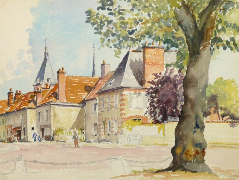 Small French Village By S. Leferve Goux, Watercolor Painting