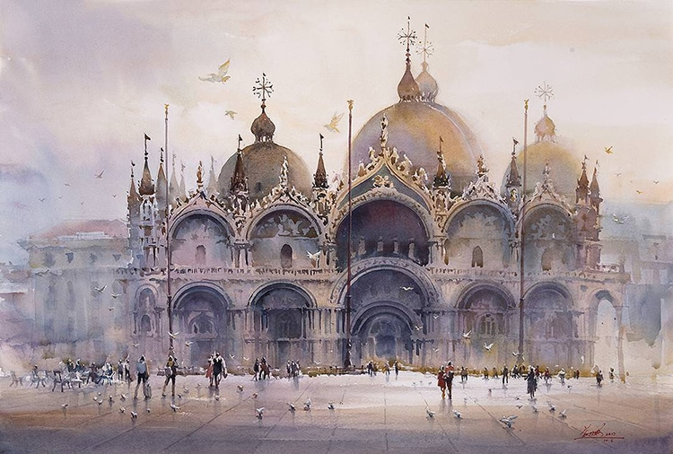 St. Mark's Cathedral In Venice By Kwan Yeuk Pang, Watercolor