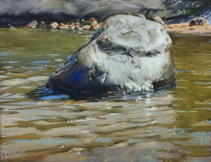 Stone In The River By Stanislaw Zoladz, Watercolor Painting