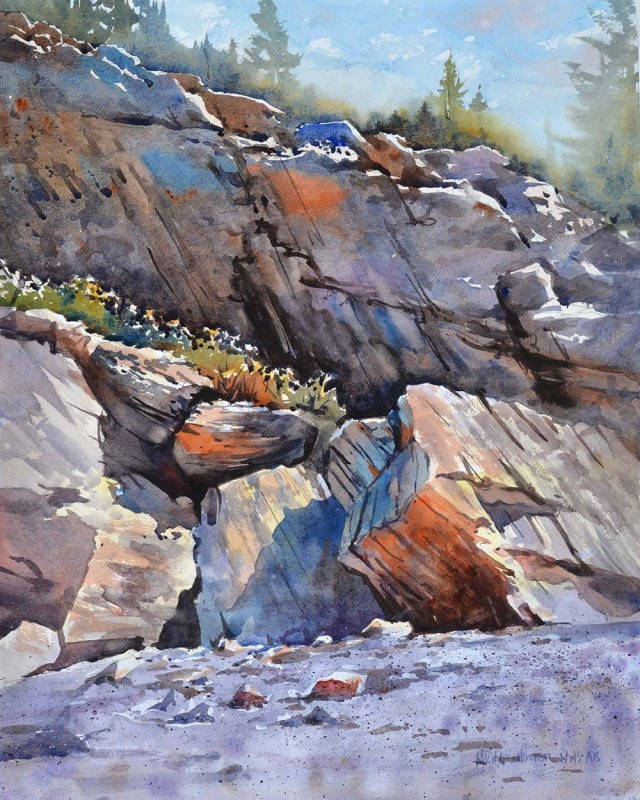 Stone Wall By Michael Holter, Watercolor Painting