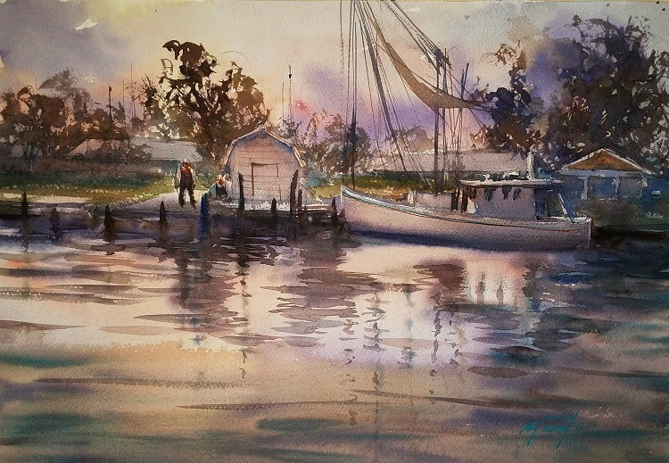 Sunset Down Town The Bayou By Keiko Tanabe