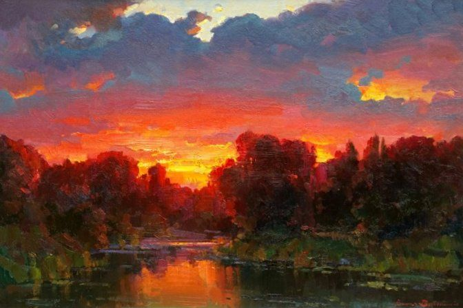 Sunset Glow By Ovanes Berberian, Oil Painting