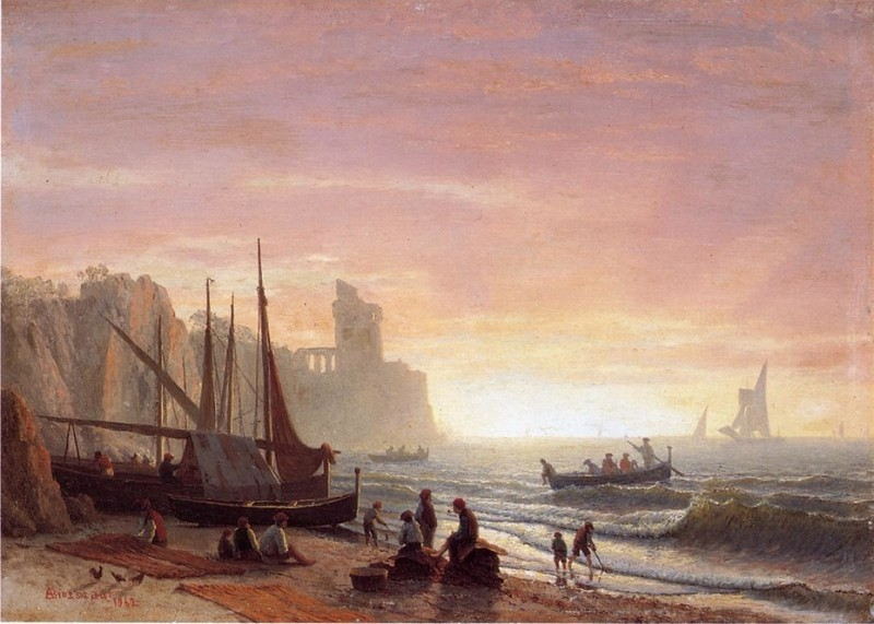 The Fishing Fleet By Albert Bierstadt, Oil Painting