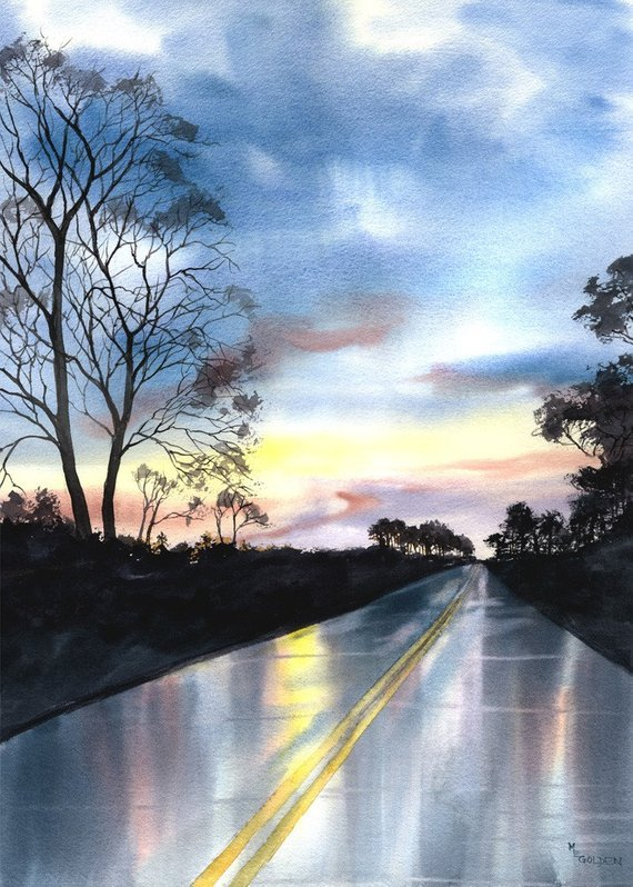 The Road Home By M. Golden, Watercolor Painting