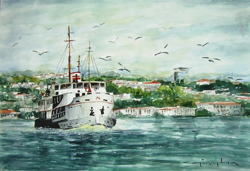 Watercolor Istanbul By Celal Gunaydin