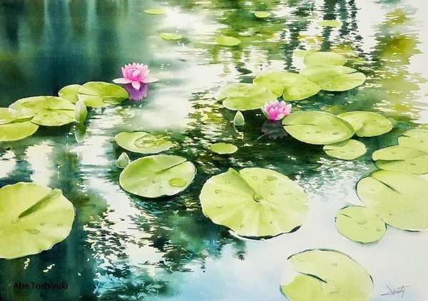 Watercolor Painting By Abe Toshiyuki