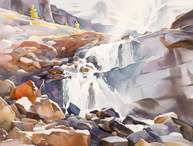 Waterfall By David McEown, Watercolor Painting