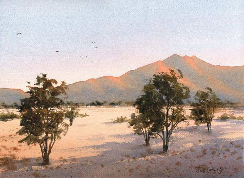 West MacDonnell Ranges At Sunset By Joe Cartwright, Watercolor Painting