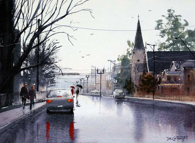Wet Street By Joe Cartwright, Watercolor Painting